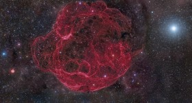 Simeis 147, a faint supernova remnant with a tangle of filaments. NASA image.