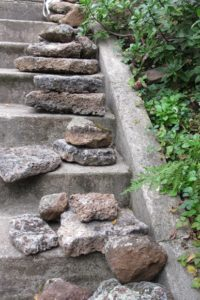 lava-rocks-piled-on-garden-stairway-ready-to-install. Photo by BF Newhall