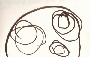 """Line drawing of a """"monster"""" by a 3-year-old girl."""