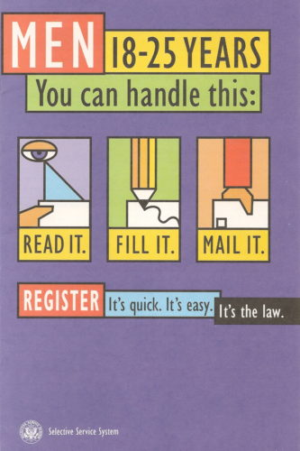 Cover of 1998 US Selective Service draft registration pamphlet.