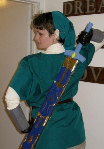Christina Newhall dressed up as Link of Nintendo's Legend of Zelda, Halloween, 2012. With sword and hat.Photo by Christina Newhall