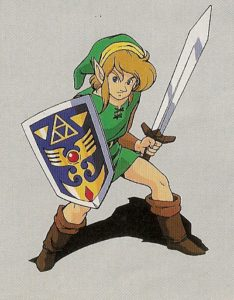 More than Bride Barbie, Christina loved the Nintendo character Link with sword and shield, 1992 instruction booklet illustration. Nintendo image.