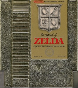 The gold cover of The Legend of Zelda game cassette.