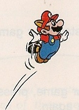 NES Mario Bros. 3 character Mario is flying in illustration from 1990 Nintendo instruction booklet.