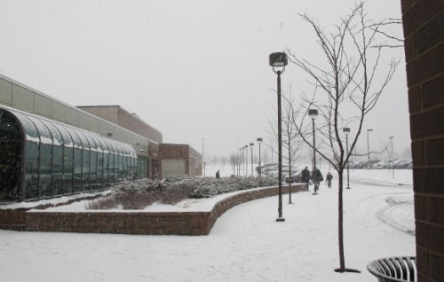 The Eden Prairie, MN, Community Center in a heavy snowfall, January, 2013. Photo by BF Newhall
