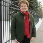 Barbara Falconer Newhall wearing her vintage Austrian Walkjanker wool jacket from Salzburg. Photo by Jon Newhall