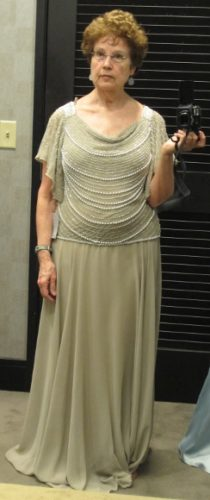 A beige chiffon mother of the groom gown with pearl bodice at nordstrom. Photo by BF Newhall