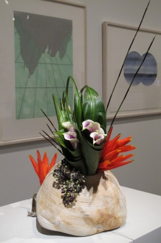 "yu-mei chen assisted by chin-huat chang created a floral arrangement that included calla lilies to complement Mary Heilmann's ""Passage"" at the de Young museum's Bouquets to Art show, 2013. Photo by BF Newhall"