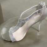 Silver satin 4 1/2 inch high shoes with clear stone pave straps at Nordstrom $129.95. Photo by BF Newhall.