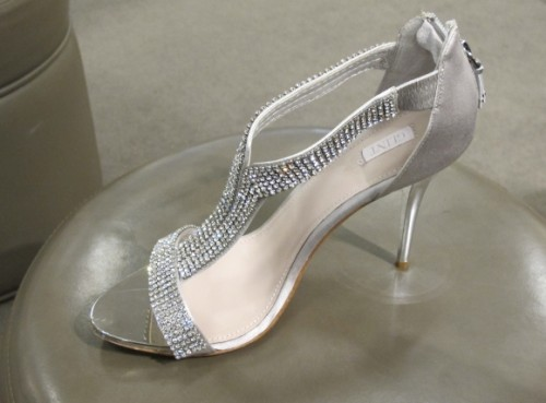 Silver satin  1/2 inch high shoes with clear stone pave straps at Nordstrom $129.95. Photo by BF Newhall.