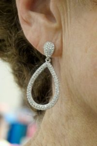 Teardrop-shaped loop earrings by Nadri. Photo by BF Newhall