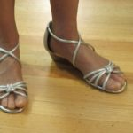 Alfani silver sandals with low wedge stack heel from Macy's.