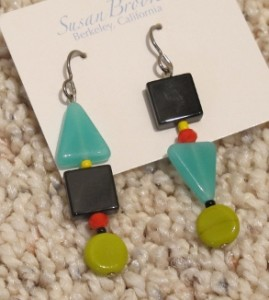 Black, green and aqua loop earrings made of beads by Berkeley artist Susan Brooks. Photo by BF Newhall