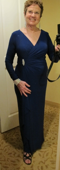 Writer Barbara Falconer Newhall wearing long purple knit gown & swarovsky jewelry for son's wedding. Photo by BF Newhall