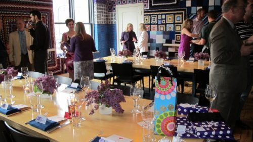 The Afghan Room at Minneapolis' Bachelor Farmer restaurant is covered with colorful afghans. A groom's dinner took place there in May, 2013. Photo by BF Newhall