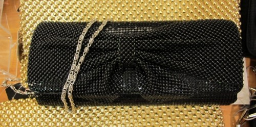 A black beaded evening bag for sale at Macy's for $40.