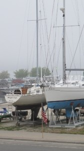 sailboats drydocked at pentwater michigan. photo by BF Newhall