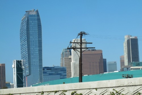 Ritz-Carlton's graceful skyscraper in downtown los angeles with an unsightly telephone pole marring the view. photo by bf newhall