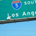 A green freeway sign on California's Interstate 5 South indicating Los Angeles. Photo by BF Newhall