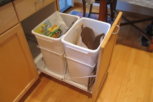 Two trash cans in a pull-out kitchen drawer. Photo by BF Newhall