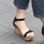 strappy wedge sandals, short cropped jeans and bare ankles in shanghai. photo by bf newhall