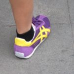 lavendar, purple and yellow sneakers with short black socks seen on a shanghai street. photo by bf newhall