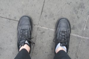 worn but sturdy black lace-up walking shoes worn by barbara falconer newhall in china. photo by bf newhall