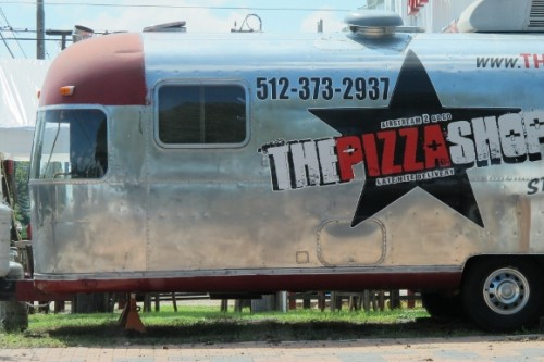 Airstream streamlined trailer in austin tx selling pizza. photo by bf newhall