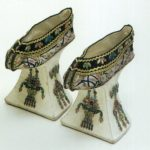 qing dynasty ornately embroidered elevated shoes possibly worn by the dowager empress Cixi maybe wore.