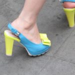 Seen in Shanghai -- turquoise open toed strap-heeled pumps with yellow heel and bow. Photo by BF Newhall