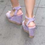 Seen on the streets of Shanghai -- woman wearing lavendar suede high platform sandals. Photo by BF Newhall