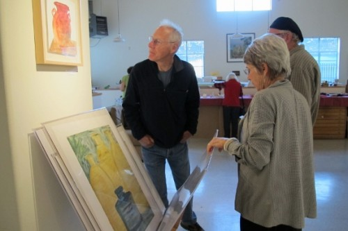 Steve and Nancy Selvin at the Light Room in Berkeley, CA, during show of her works on paper. Photo by BF Newhall