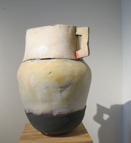 "Ceramist Nancy Selvin's ""Large Pot with Green Base, Terracotta, Underglaze, 2012,"" 22"" high. Photo by BF Newhall"