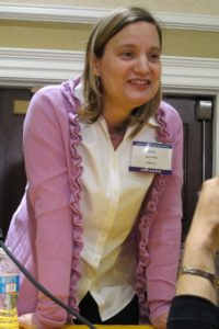 Author Jana Riess after a panel discussion at the Religion Newwswriters conference, 2012. Photo by BF Newhall