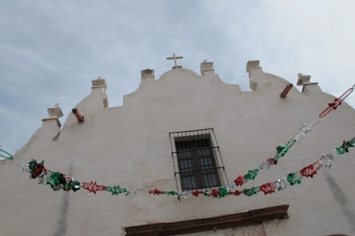 The facade and cross at Sancutario de Atotonilco church in central Mexico. Photo by BF Newhall