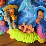 Hand painted clay creche with Joseph, Mary, Jesus & Star of Bethlehem, Mexican folk art. Photo by BF Newhall