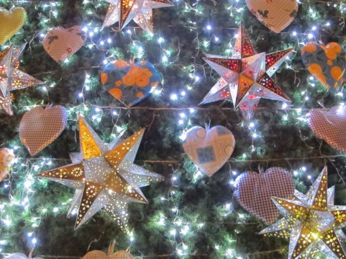Close up of stars in Christmas tree in Jardin of San Miguel de Allende. Photo by bf Newhall