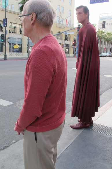 Actor Christopher Dennis dressed as Superman on Hollywood's Walk of Fame with Jon Newhall. Photo by BF Newhall