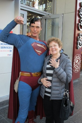 Actor Christopher Dennis poses in Superman outfit with writer Barbara Falconer Newhall. Photo by Jon Newhall