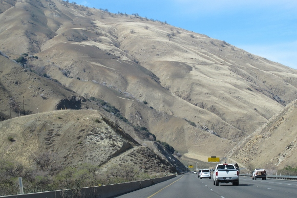 The hills of southern California on the Grapevine near Gorman are grey from drought. Photo by BF Newhall