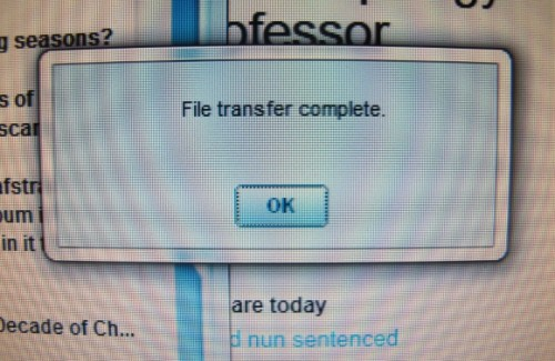 """A computer monitor shows AOL email's """"File transfer complete"""" window. Photo by BF Newhall"""