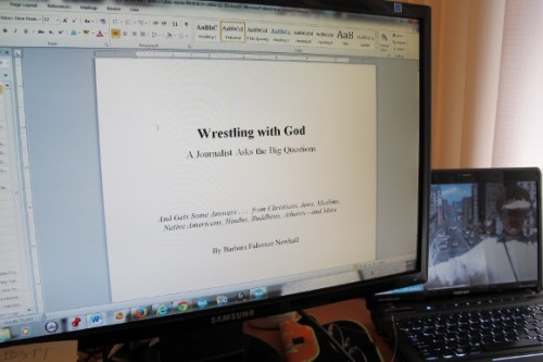 "Computer monitor shows title page of ""Wrestling with God"" book manuscript ready to send to publisher. Photo by BF Newhall"