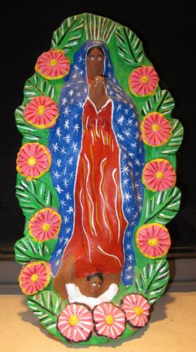 Colorful, hand-painted terra cotta statue of the Virgin of Guadalupe, from Mexico. Photo by BF Newhall