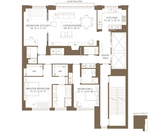 Floor plan of condo on East 86 Street, Manhattan, with three bedrooms and 3.5 baths.
