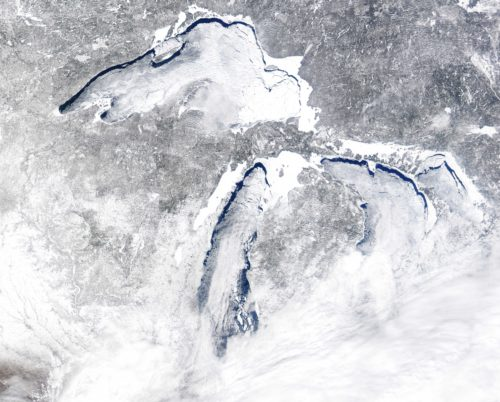NASA satellite image of Great Lakes covered with ice and clouds, March 8, 2014. NASA image.