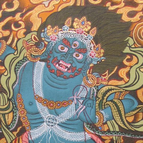 Yamantaka, fierce and blue faced Destroyer of the God of Death in Tibetan Buddhist tradition, detail of hand-painted thangka from Nepal. Photo by bf newhall
