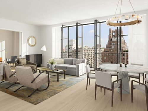 Living room of condominium on East 86 Street, Manhattan, with views of skyscrapers.