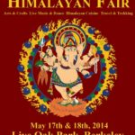 Poster with dark red background with figure of god Ganesh announcing the 2014 Himalayan Fair Berkeley.