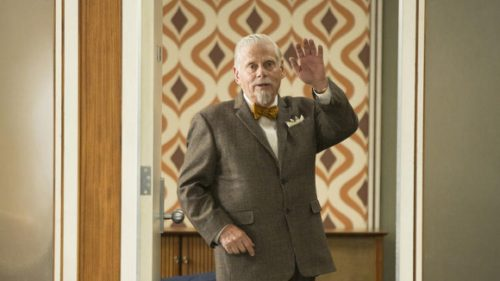 "Actor Robert Morse as Bert Cooper in the half 7th season finale of ""Mad Men"" waves good-bye"