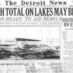 Front page of the Detroit News, 1913, with headline describing harsh shipwreck weather on Great Lakes.
